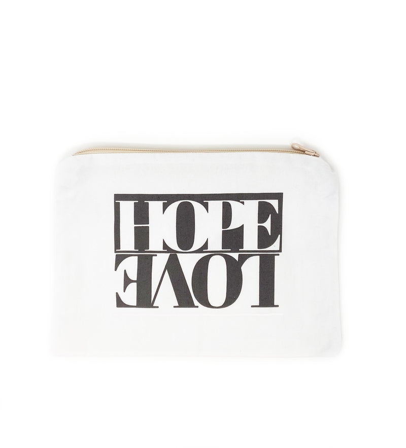 Hope + Love Cosmetic Bag: Black and White