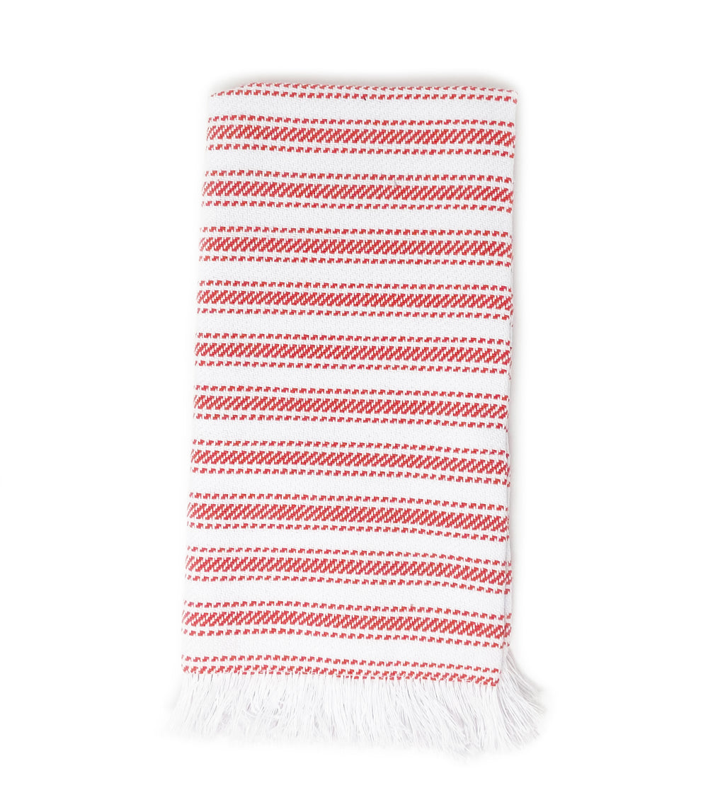 Handwoven Striped Napkin: Red and White