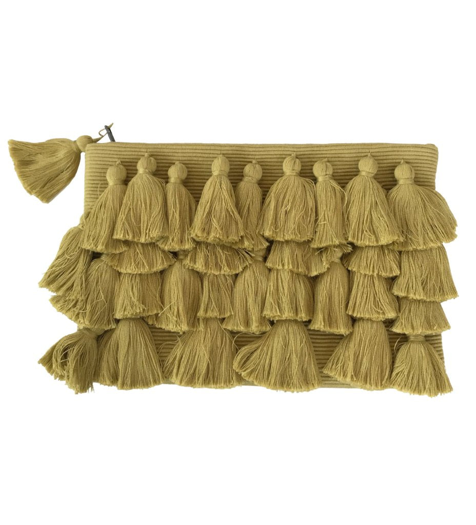 All Over Tassel Clutch: Chartreuse