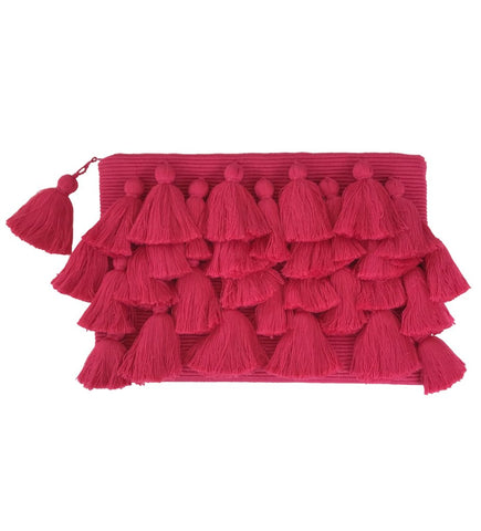 Fold Over Velvet Ikat Clutch: Red Lips