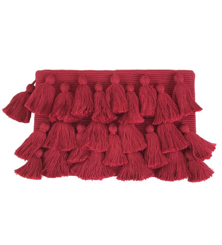 All Over Tassel Clutch: Black