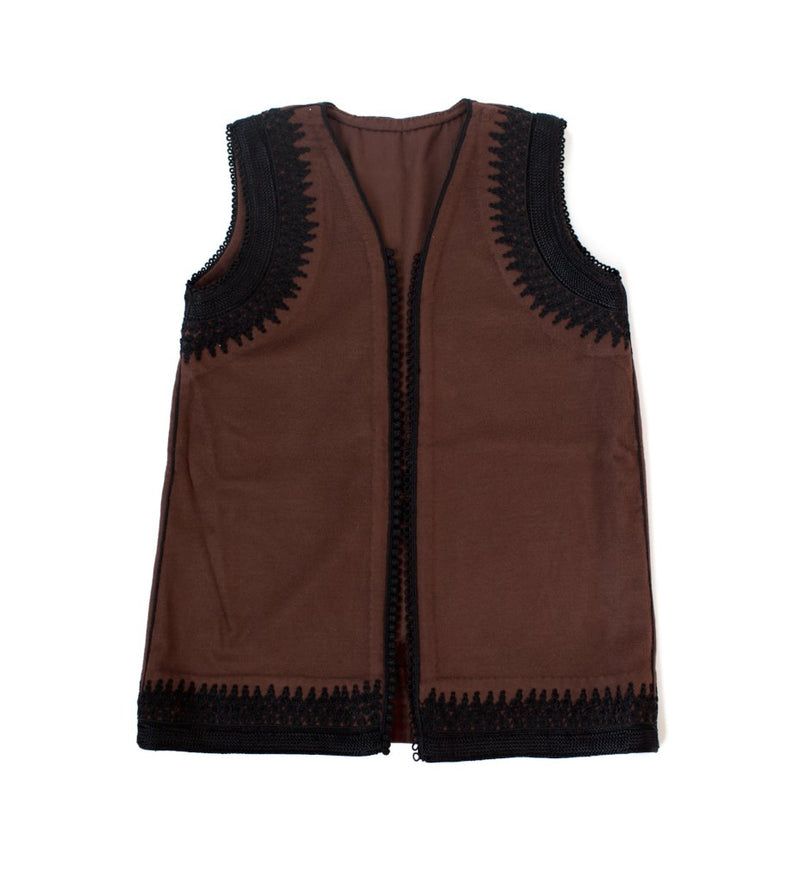 Amina Vest: Brown with Black
