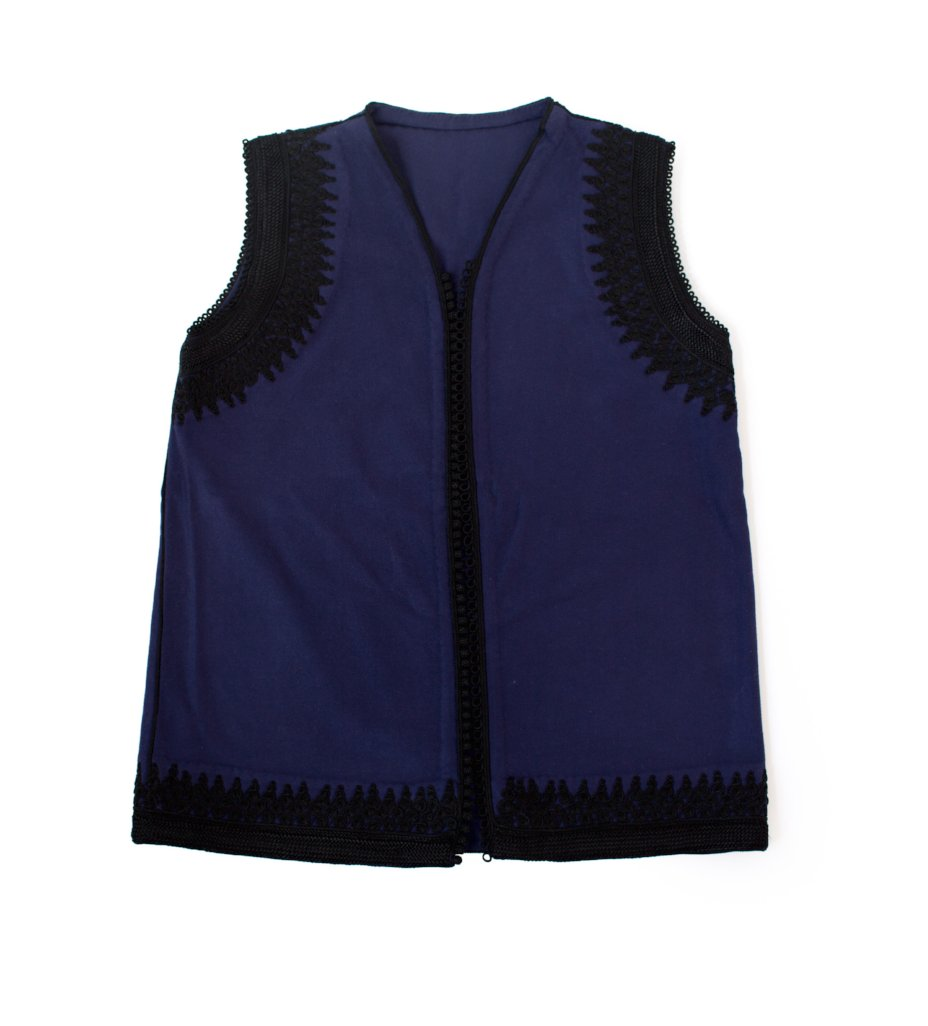 Amina Vest: Dark Blue with Black