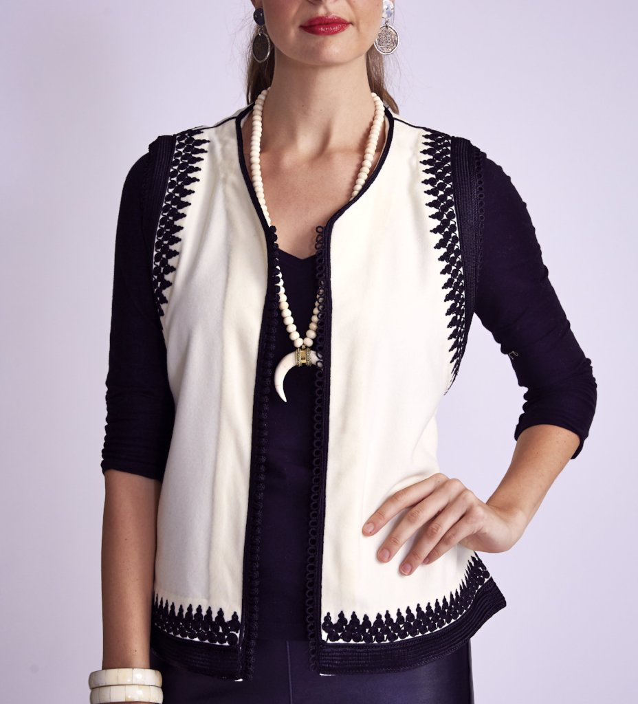 Amina Vest: Charcoal Grey with Black