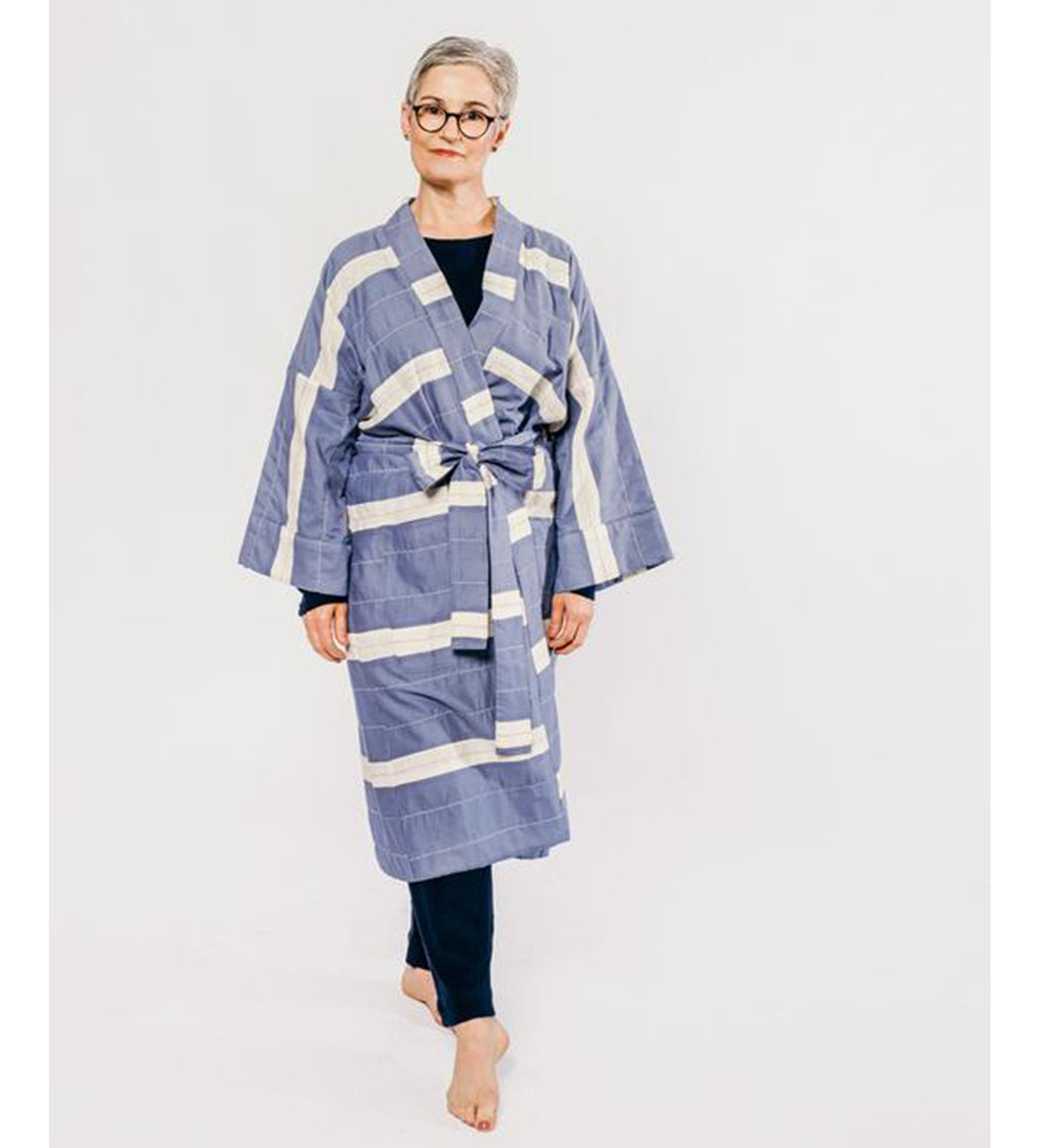 Stripe Robe: Blue