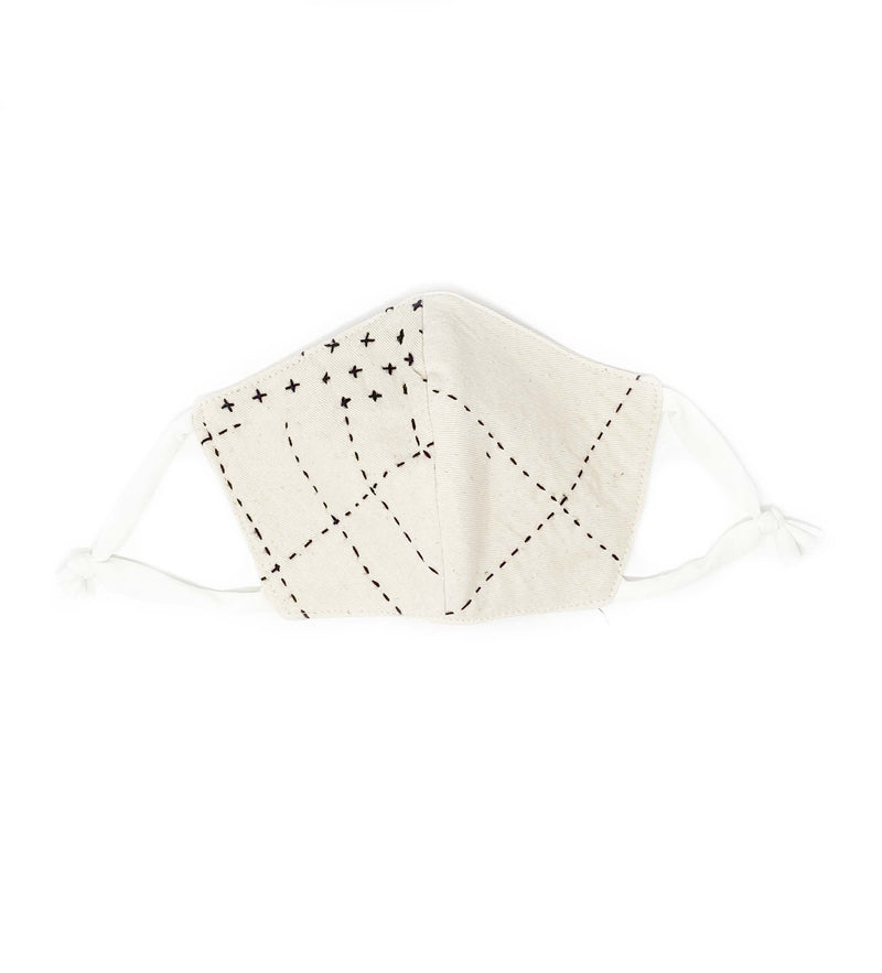 Protective Face Mask: White Kantha Stitch