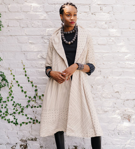 Felted Mola Pattern Long Jacket