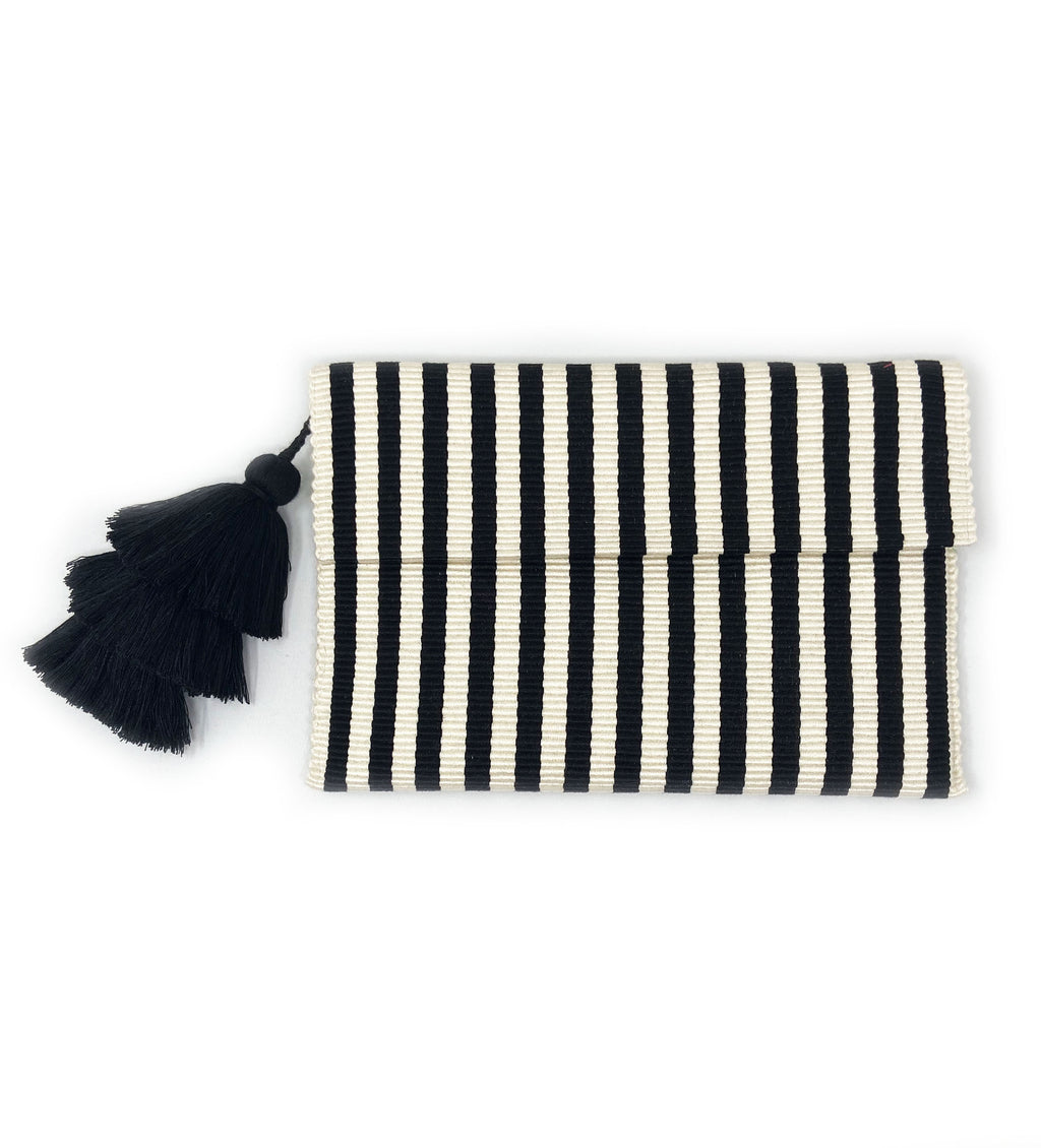 Ande Stripe Clutch: Black and White