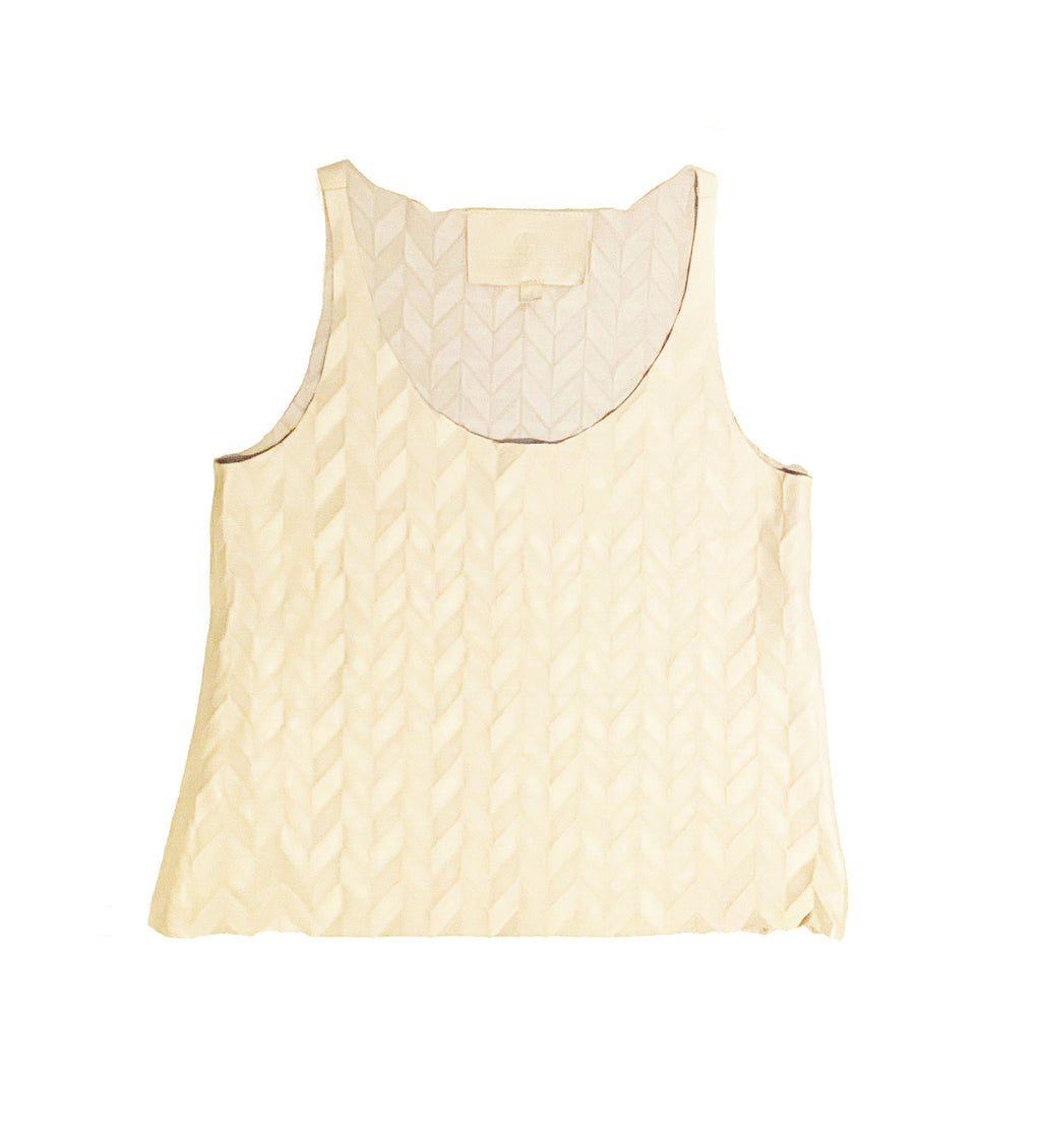 Textured Leather Cropped Tank: White