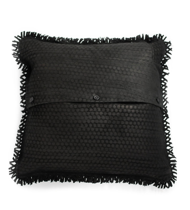 Wabi Sabi Leather Pillow with Fringe: Black
