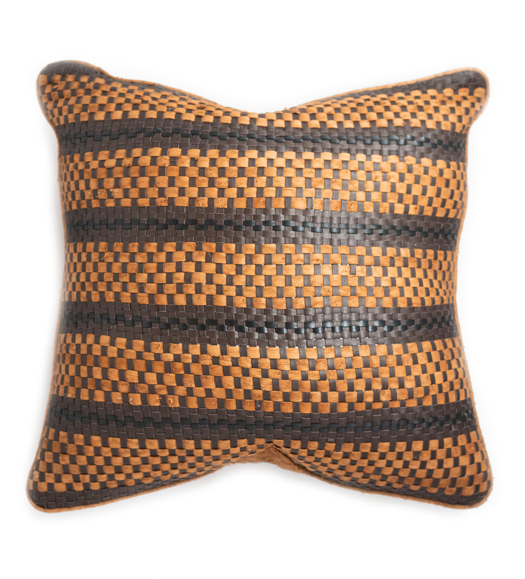 Loom Leather Pillow: Camel, Black, Brown
