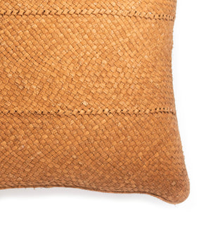 Braided Leather Pillow: Camel