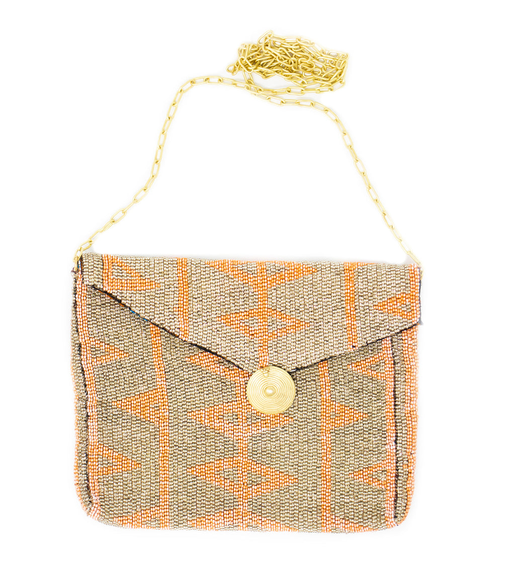 Antassia Beaded Bag: Coral and Silver Open Triangles