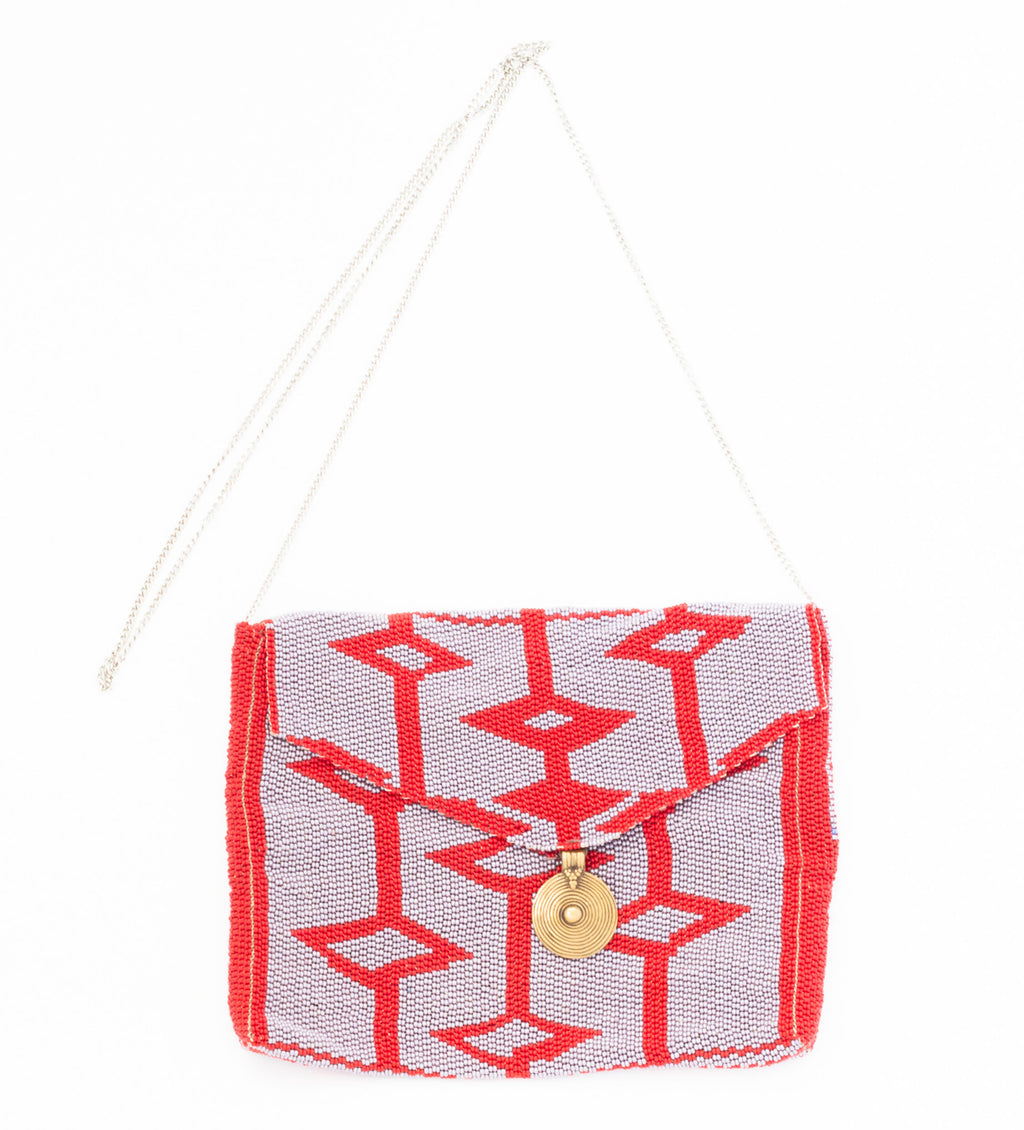 Antassia Beaded Bag: Lilac and Red