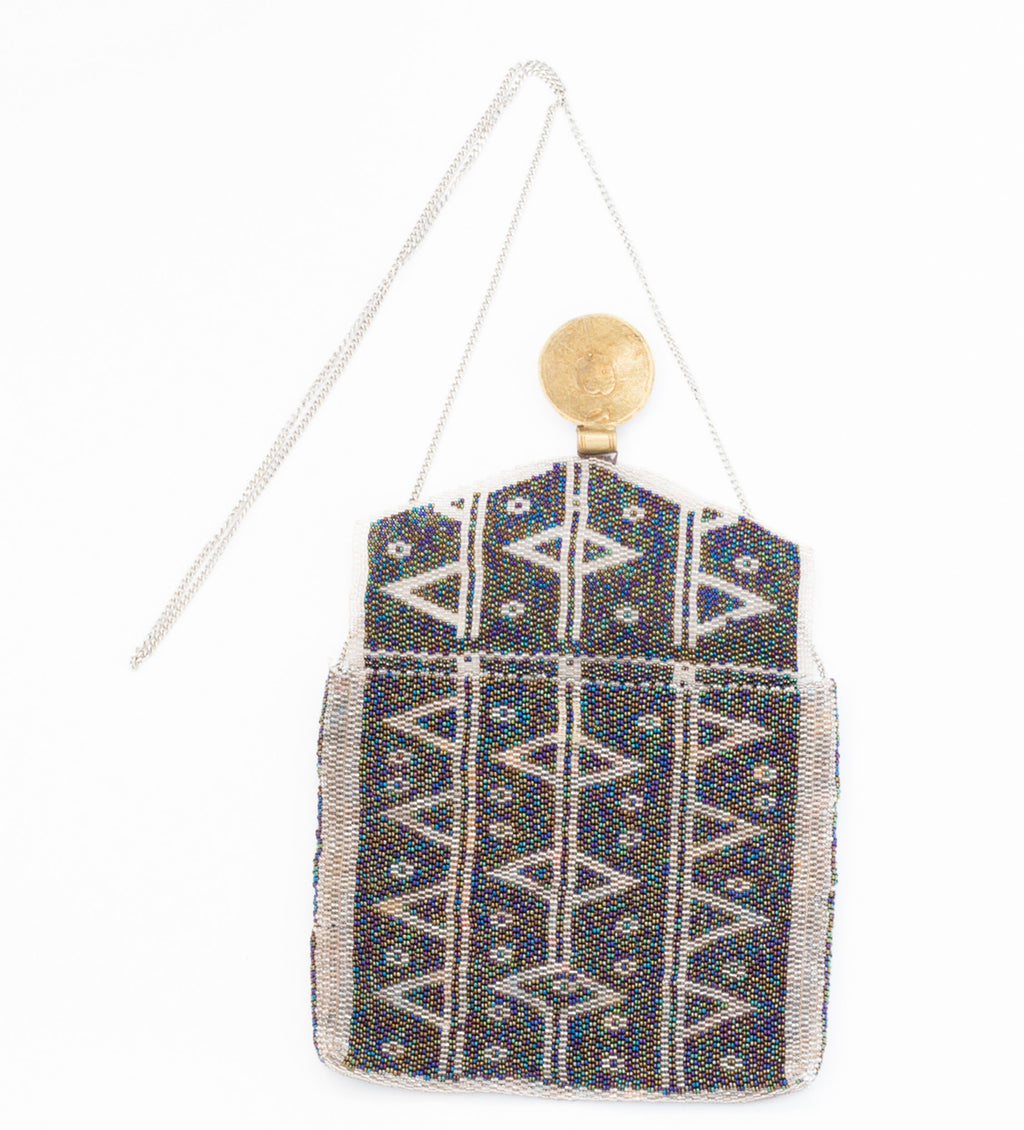 Antassia Beaded Bag: Blue and Silver