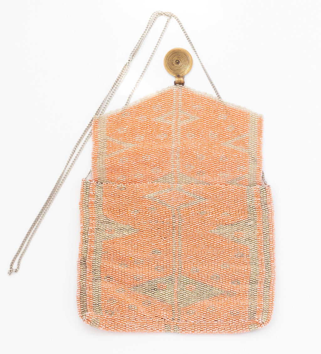 Antassia Beaded Bag: Peach and Silver