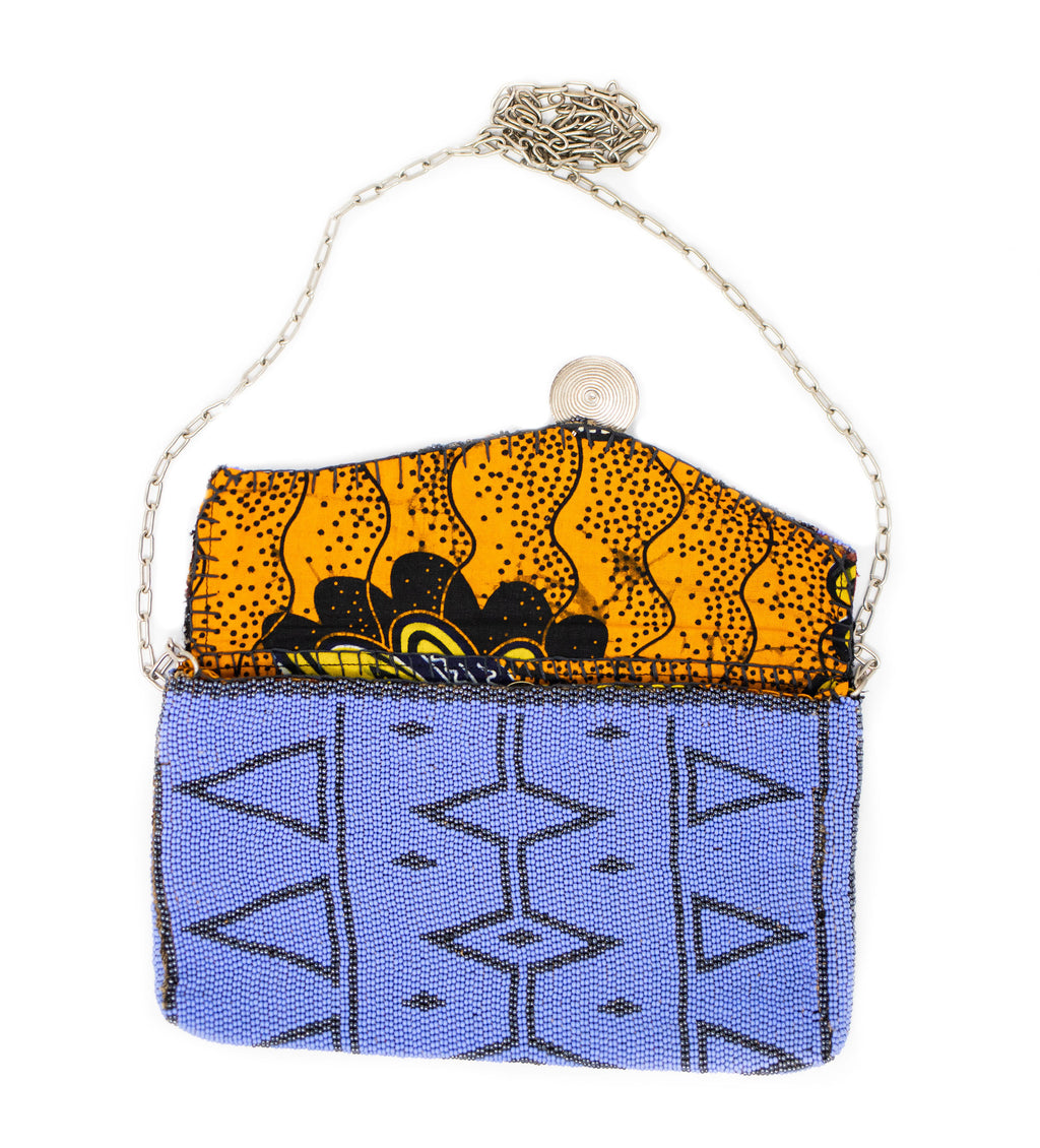 Antassia Beaded Bag: Periwinkle and Silver