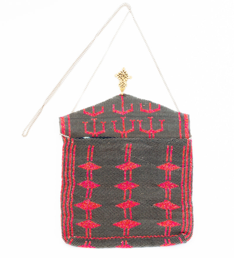 Antassia Beaded Bag: Red and Charcoal