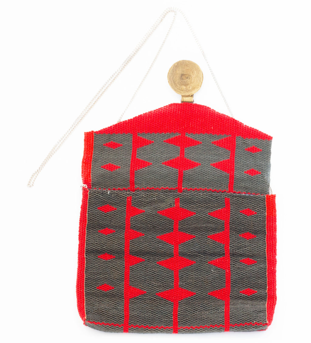 Antassia Beaded Bag: Red and Slate