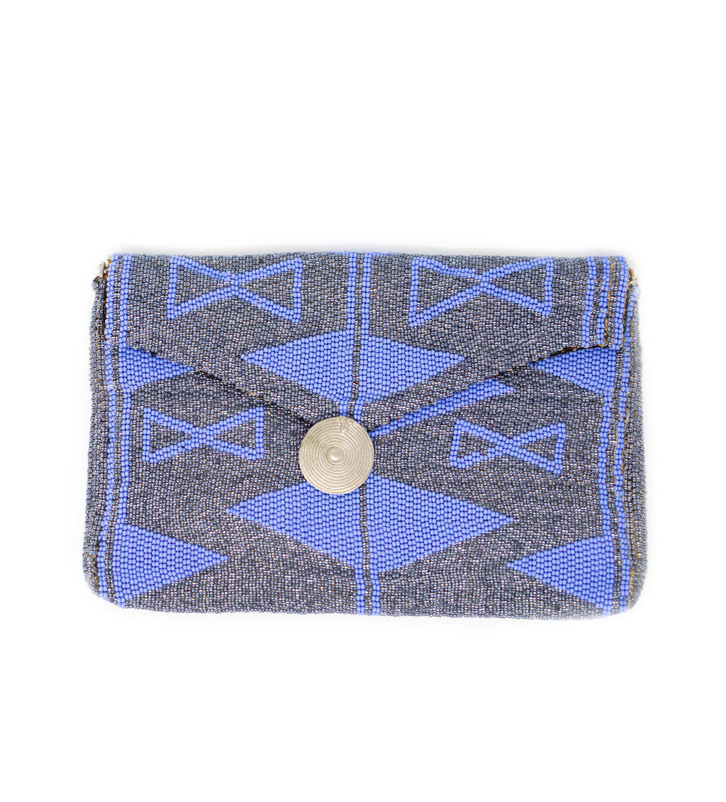 Antassia Beaded Bag: Silver and Periwinkle