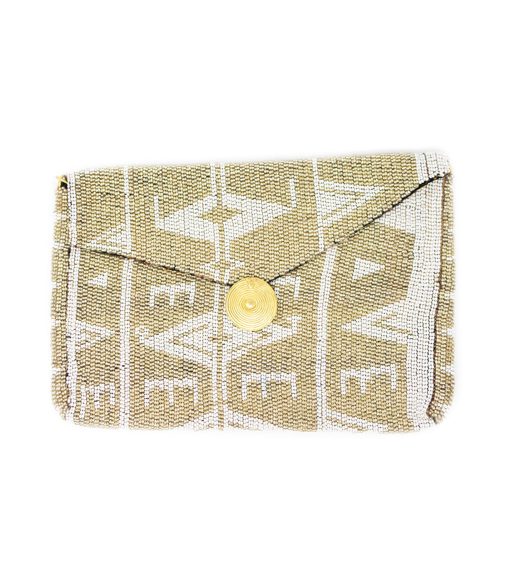 Antassia Beaded Bag: Silver and White