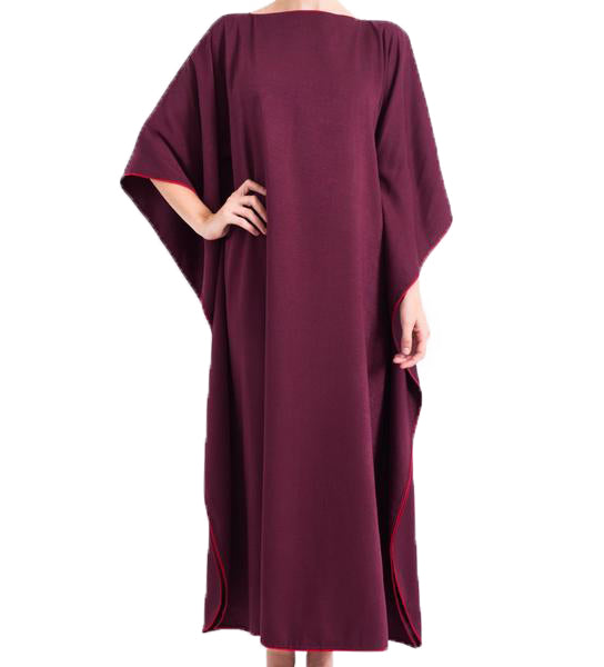 At Home Caftan: Aubergine with Claret