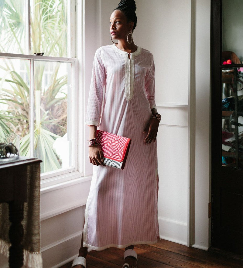Aya Caftan: Red and White