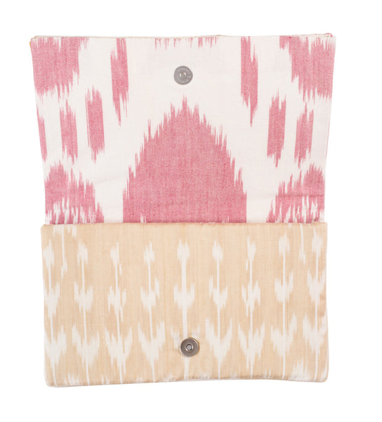 Pink Embroidered Fold Over Clutch