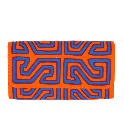 Mola Sasa Clutch: Orange and Blue