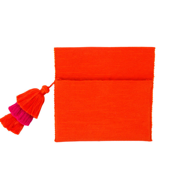 Triple Tassel Clutch: Orange