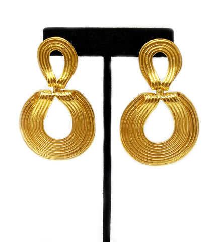 Brass Hoop Earrings with Medallion