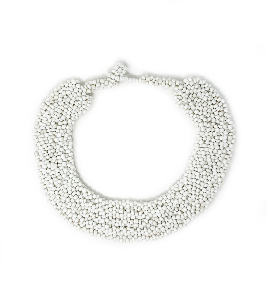 Beaded Collar Necklace: White