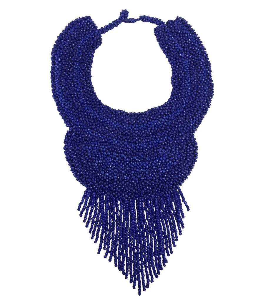 Beaded Bougie Necklace: Cobalt