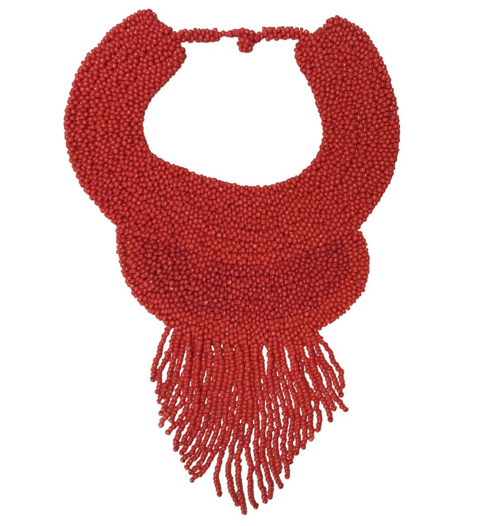 Beaded Bougie Necklace: Red