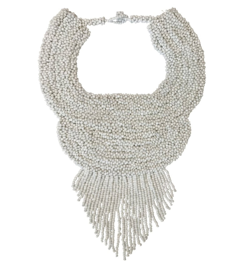 Beaded Bougie Necklace: White