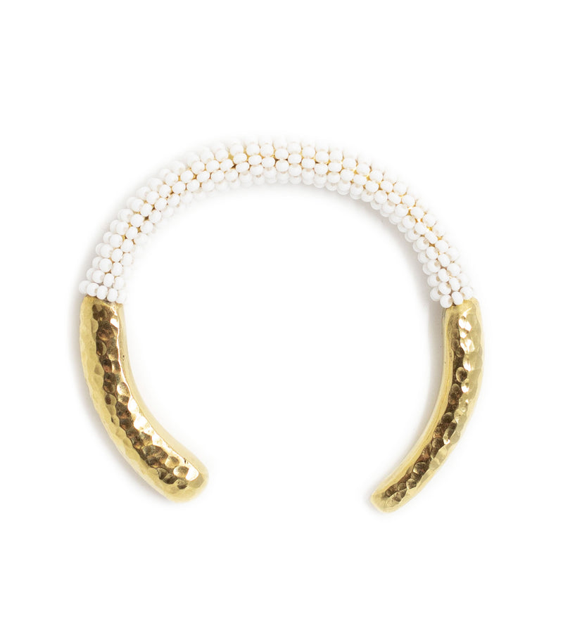 Beaded Brass Cuff: White