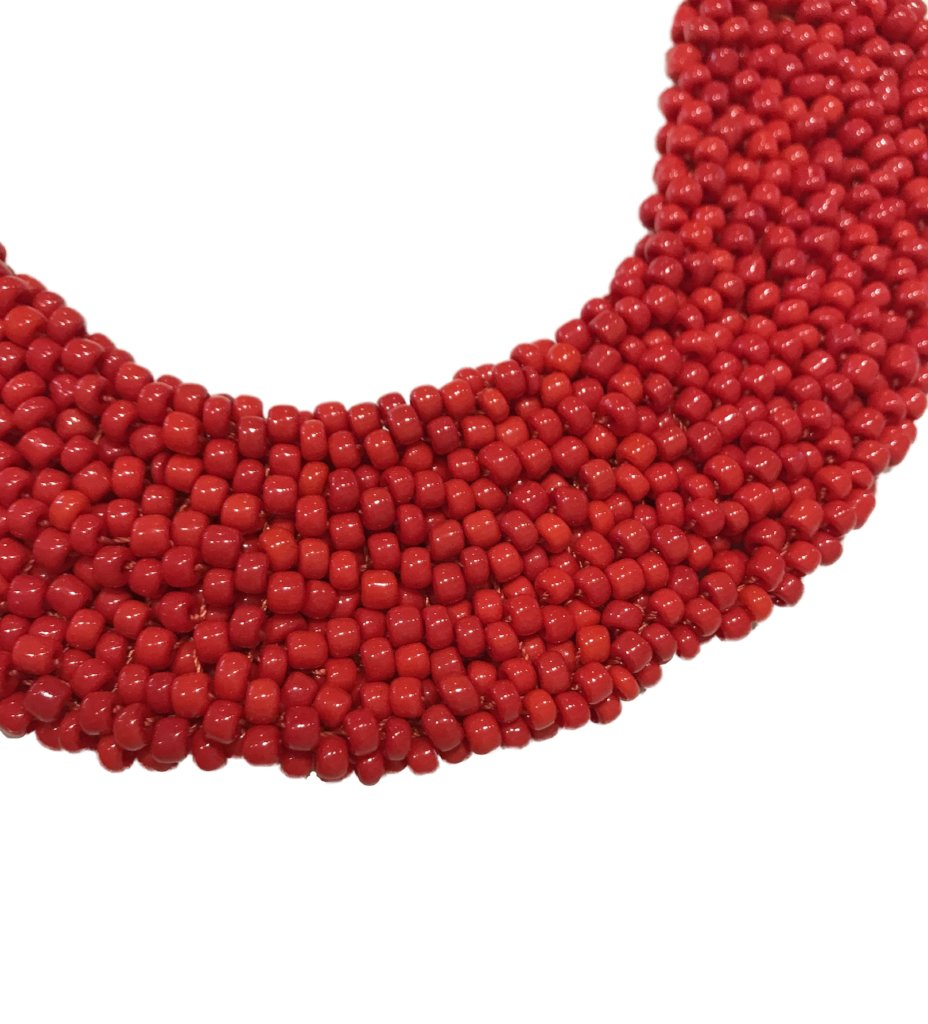 Beaded Collar Necklace: Red