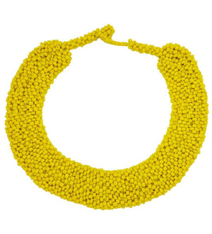 Beaded Collar Necklace: Yellow