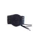 Beaded Disc Bracelet with Leather: Black