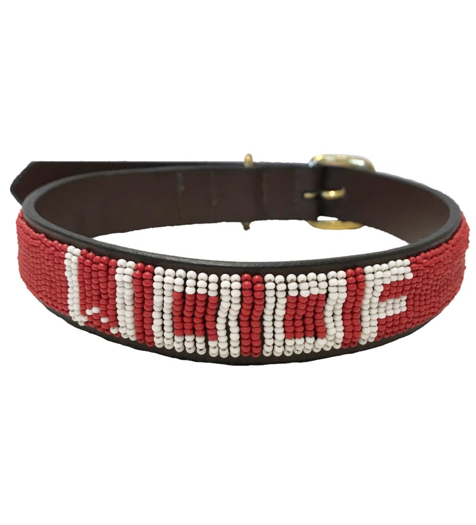Beaded Dog Collar: Red and White