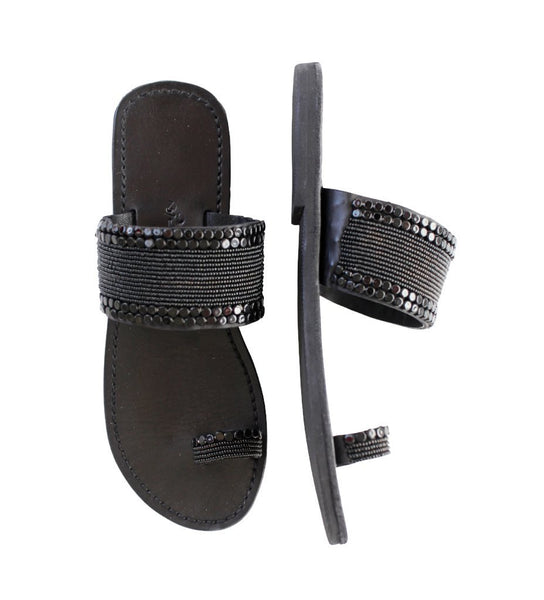 Beaded Sandal: Black