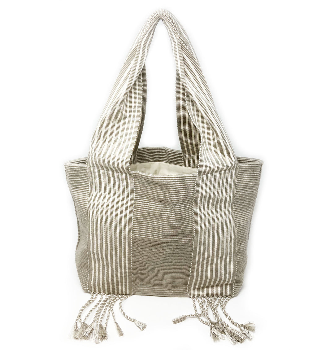 Belt Lines Tote: Grey and White