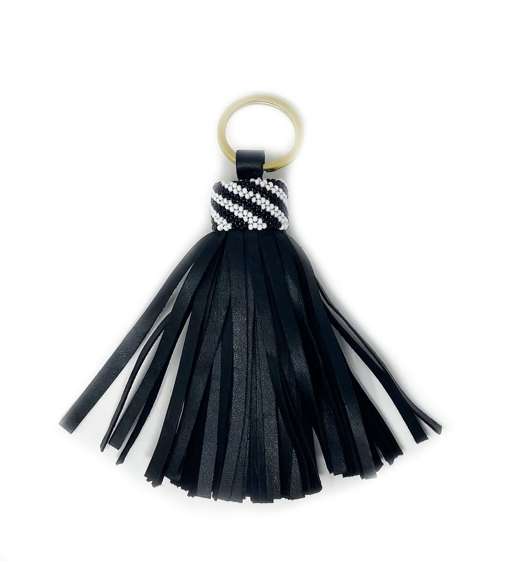 Black Leather Tassel Keychain: Thick Lines