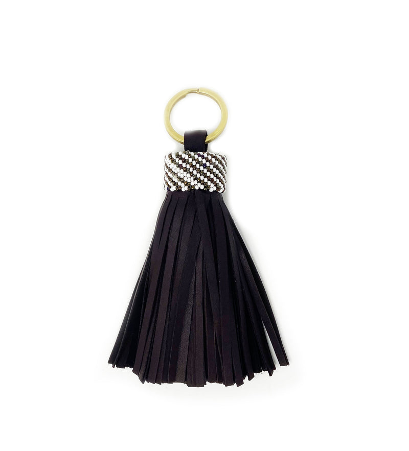 Black Leather Tassel Keychain: Thin Lines