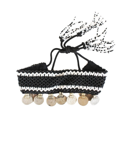 Bead and Coin Choker: Black with White
