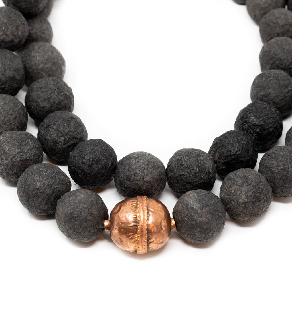 Black Long Ball Necklace with Copper Bead