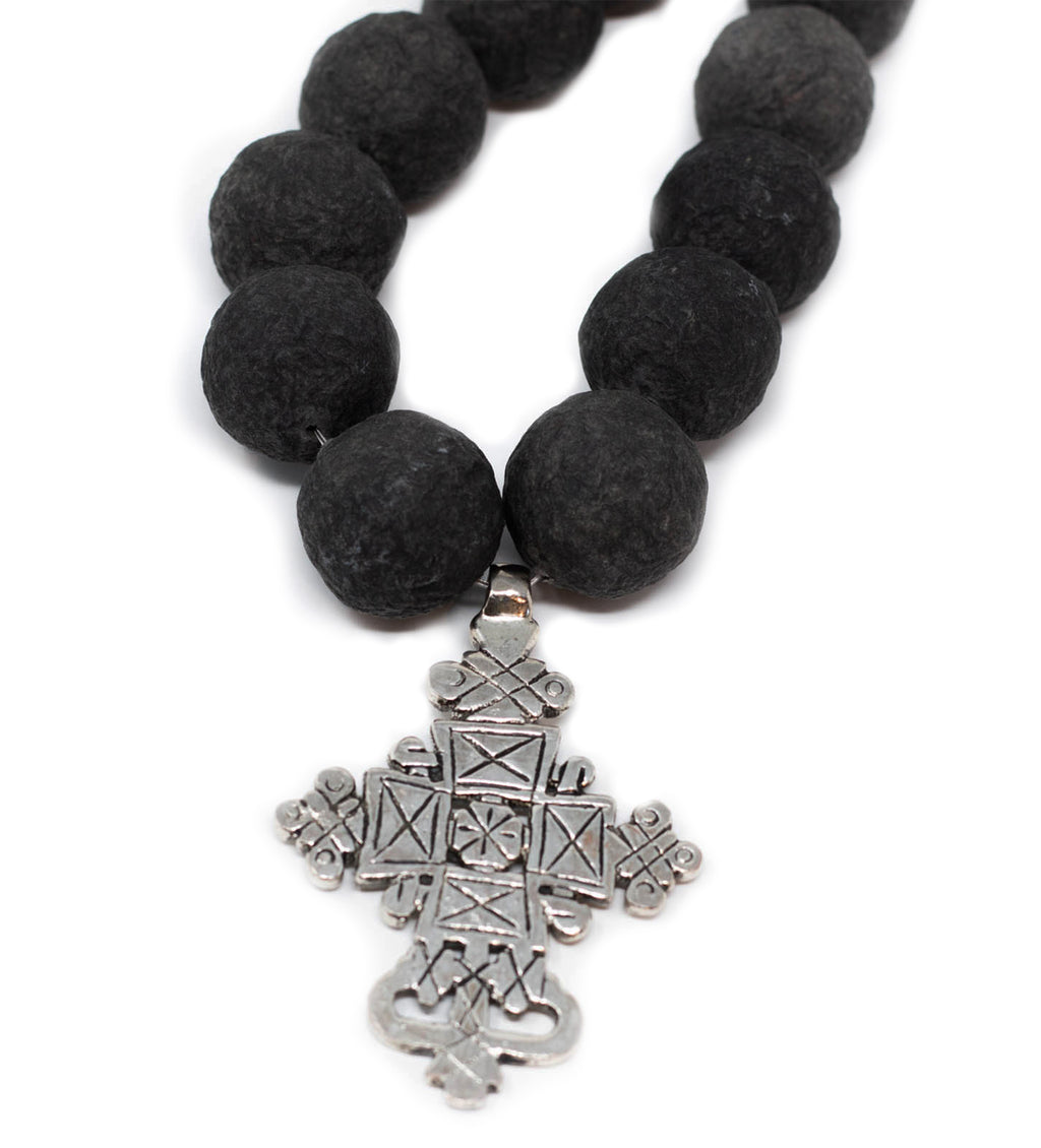 Black Long Bead Necklace with Ethiopian Cross