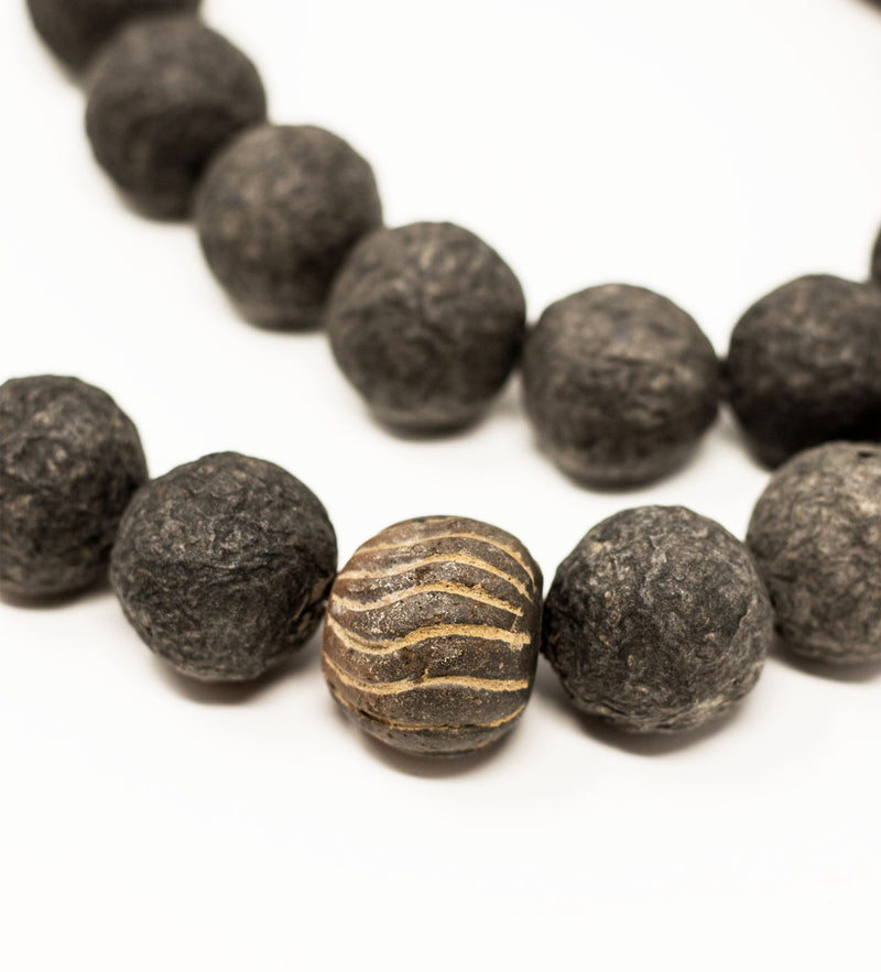 Black Long Ball Necklace with Mali Bead