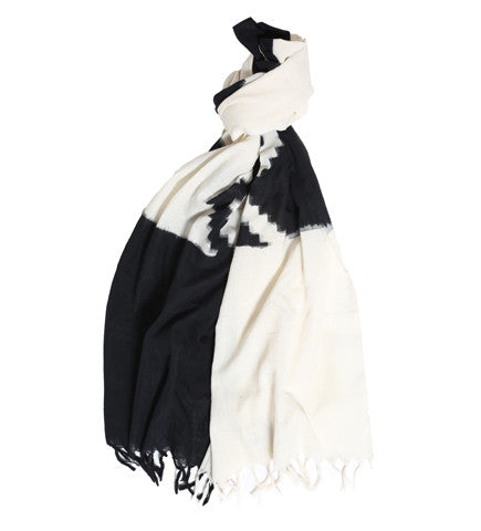 Ikat Cotton Scarf: Black/White