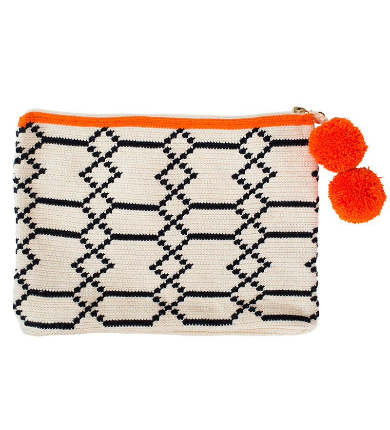 Black White Pochette With A Hint of Orange